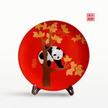 成都漆器工艺品枫叶熊猫圆盘(大)